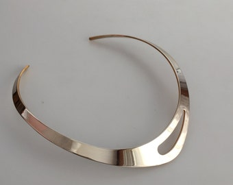 70s Choker Necklace MODERNIST Necklace Silver Choker Minimalist Jewelry Vintage Choker Streamlined Design