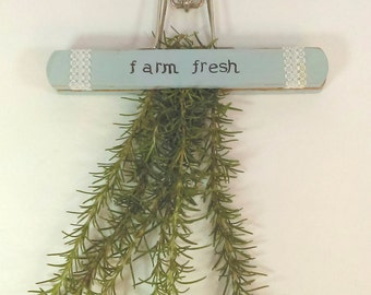 Repurposed Hanging Herb Drying Rack: French Blue, Hand Stenciled Farm Fresh, Vintage Farmhouse, Farm to Table