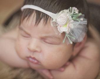 New! Newborn band Baby Pink Flower Silk Tie back newborn Bow Hand Rolled Rosettes Headband