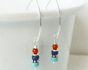 Turquoise Earrings, Sundance Style, Gemstone Stack Earrings, Southwestern Jewelry, Minimalist, Sterling Silver, Simple, Colorful, Gift