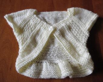 hand knit little girl's antique white shrug