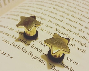 Gold star plugs - 0g - Ready to ship!