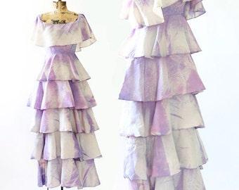 Vintage 70s ruffle Cosmos maxi dress