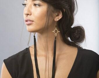 Etu Fringe Dusters | Boho Fringe Earrings | Rustic Jewelry | Leather Earrings | Festival Earrings | Amulet Earrings | Unique Jewelry