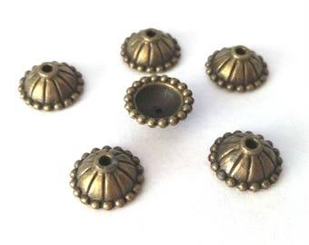 20pc 10.5mm antique bronze finish metal bead caps-OFF248