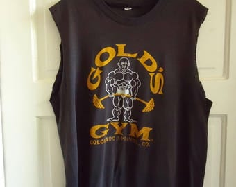 Vintage GOLDS GYM 80s Trashed Muscle T Shirt sz M