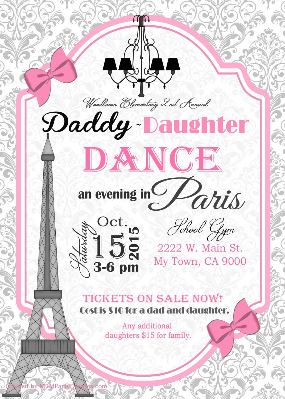 Daddy Daughter Dance Evening In Paris Invitation Or Paris