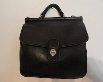 Women's Vintage Black Leather COACH Willis No.9927 Crossbody Shoulder Handbag