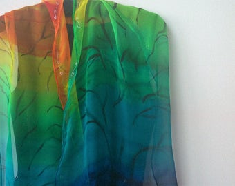Hand Painted Rainbow Chiffon Scarf. Chakra Colors Scarf. Tree of Life Shoulder Wrap. Chiffon Art to Wear. 18x71 in Long Scarf Gift Idea