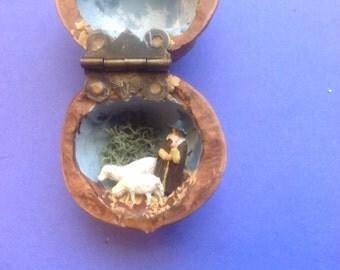 Miniature Shepherd in a Walnut Shell Diorama Folk Art
