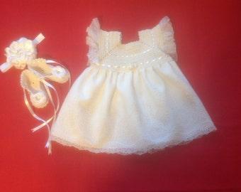 Handcrafted Newborn Baby Girl Dress Set - Champagne