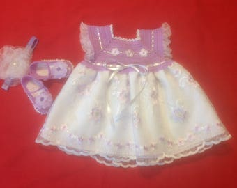 Handmade Crochet Baby Girl Dress Set - Lilac and White