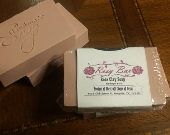 All Natural Rosy Bar - Handmade Rose Essential Oil Kaolin Clay Soap