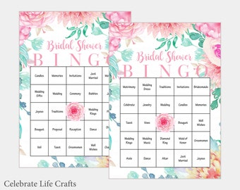30 Bridal Bingo Cards - Floral Bridal Shower Bingo Game - prefilled wedding words - Instant Download - Pink Rose Bridal Shower Games BR1004