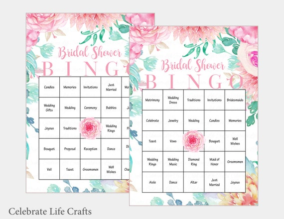 30 bridal bingo cards floral bridal shower bingo game for Non traditional bridal shower games