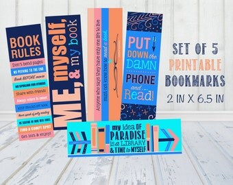 Set of 5 Bookmarks - Book Lovers - Print Yourself - Digital Download - High Res Set of 5 - 2 x 6.5 in - Great Party Favors or VALENTINES