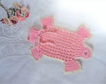 Vintage Crochet Turtle Pouch Purse Bag