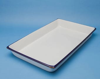Large Vintage Enamel Tray - 12 x 20 - Unusual Size Photo Processing Tray - Home Darkroom