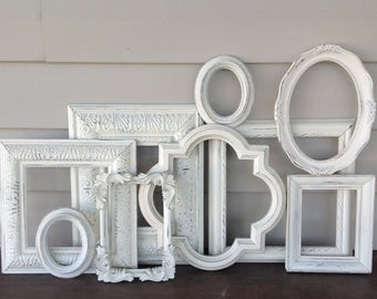 Distressed White Wall Gallery Frames - 9 Empty Frames - White Shabby Chic Open Frames