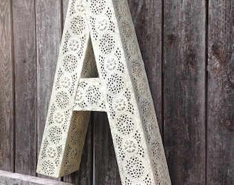 Large Filigree Meta Letter A - Wall Hanging Letter - Shabby Chic White Distressed Letter