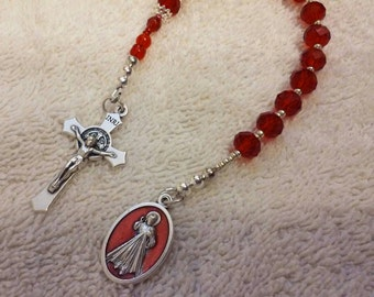 Red Crystal Beaded Divine Mercy Single Decade Rosary