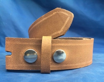 Milwaukee Chestnut Brown Distressed (Worn Look) Press Stud Snap Belt Choice of Widths & Sizes Handmade Real Leather