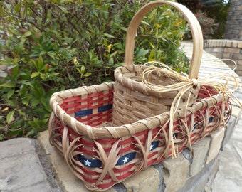 Americana Basket Divided Three Part Basket Flag Old Glory Handwoven Basket Crafter Basket Sewing Basket Storage Basket Patriotic Basket