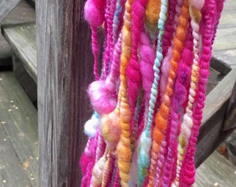 Handspun Yarn, Art Yarn, Bulky, Thick and Thin, 2 Ply, Coil Ply, Wool, Merino, Silk, Birthday Party