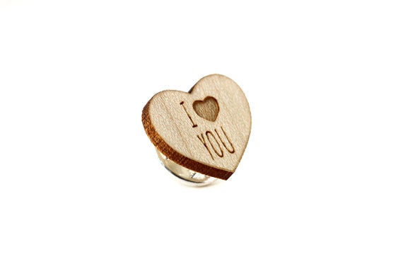 "Heart pin with message ""I love you"" - graphic brooch - romantic accessory - not another enamel pin - graphic accessory - lasercut maple wood"