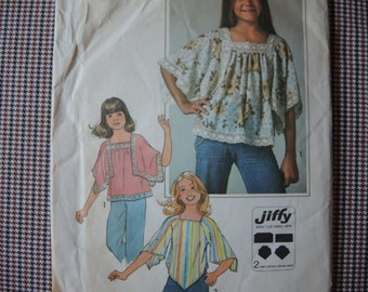 vintage 1970s simplicity sewing pattern 7831  girls jiffy pullover top size 7