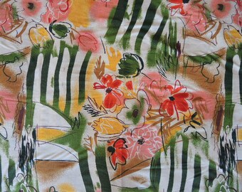 "vintage 1980s T shirt fabric abstract floral flowers 60"" wide one yard"