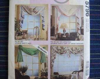 vintage 1990s McCalls sewing pattern 5796 Window swags