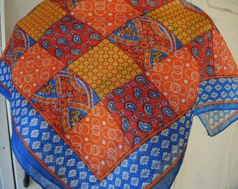 Vintage 1970s scarf slightly sheer nylon and rayon folk art mixed patterns checkerboard paisley 21 x 22 inches