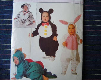 vintage 1990s Butterick sewing pattern 3050 UNCUT Infants halloween costumes dog bear bunny dinosaur sizes S-XL