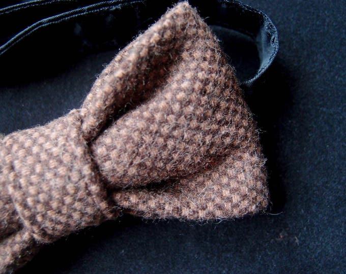 Brown Wool Bow Tie, Woolen Bow tie, Mens bow tie brown, Tweed Bow Tie, Wedding bow ties, Pre tie bow tie, Best men bow tie, Elegant bow tie