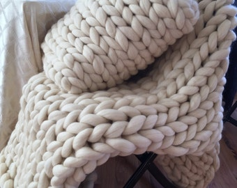 Extra Large Chunky Knit Throw Heavy Warm Knitted Ivory Blanket Cream Colored Chunky Knit Throw