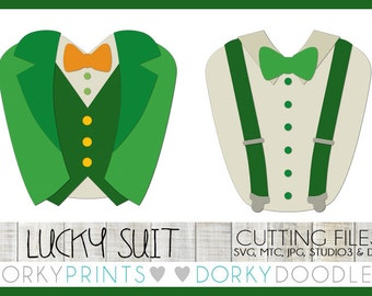 St Patrick's Day Cuttable Files, lucky suit and suspenders - svg, mtc, jpg, studio 3, and dxf files, Clothing SVG