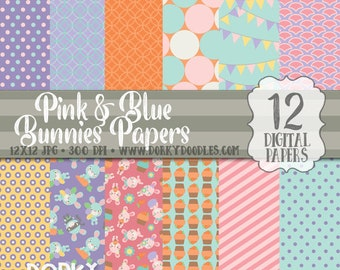 Easter Digital Paper Pack, Cute Easter Bunnies Paper, pink and blue bunnies, Easter Bunny Backgrounds