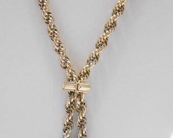 Vintage Gold Tone Metal Adjustable Lariat Necklace (5065)