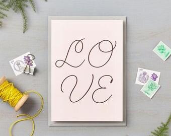 Pink Cursive LOVE card