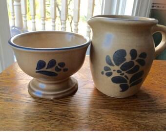 Pfaltzgraff  Folk Art Creamer andOpen Dugar Bowl Set