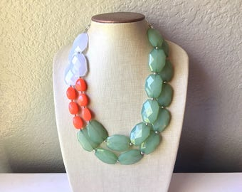 Watermelon statement necklace, coral and green, Beaded statement necklace, bib necklace, green necklace, statement jewelry