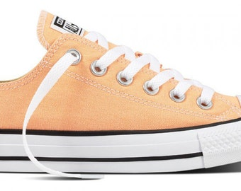 Converse Low Top Kicks Custom Rose Gold Peach Sunset Apricot Wedding Swarovski Bling Crystal Rhinestone Chuck Taylor All Star Sneakers Shoes