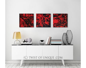 Minimalist Abstract painting/ ORIGINAL wall art /3 painting set/   15 x 45  / Red, black