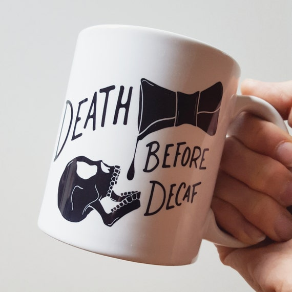 "Handmade Joshua Red ""Death Before Decaf"" Coffee Mug - Hand Drawn Coffee Cup - Handmade Coffee Mug"