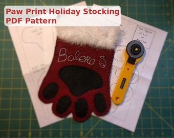 Paw Print Holiday Stocking - PDF Pattern