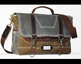 Waxed Canvas Messenger bag - laptop bag handmade by Alex M Lynch - 010015