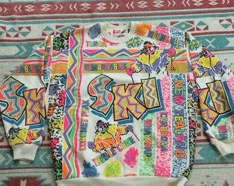 Vintage T & Ski Original New Zealand Skiing 80's Neon Colored Sweatshirt