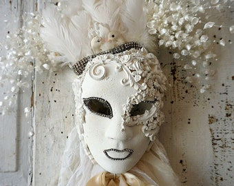 Art mask sculpture wall hanging white handmade shabby cottage chic decoration embellished unique ooak signed decor anita spero design