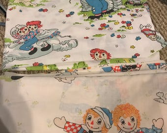 1970s 1980s Raggedy Ann twin sheet set